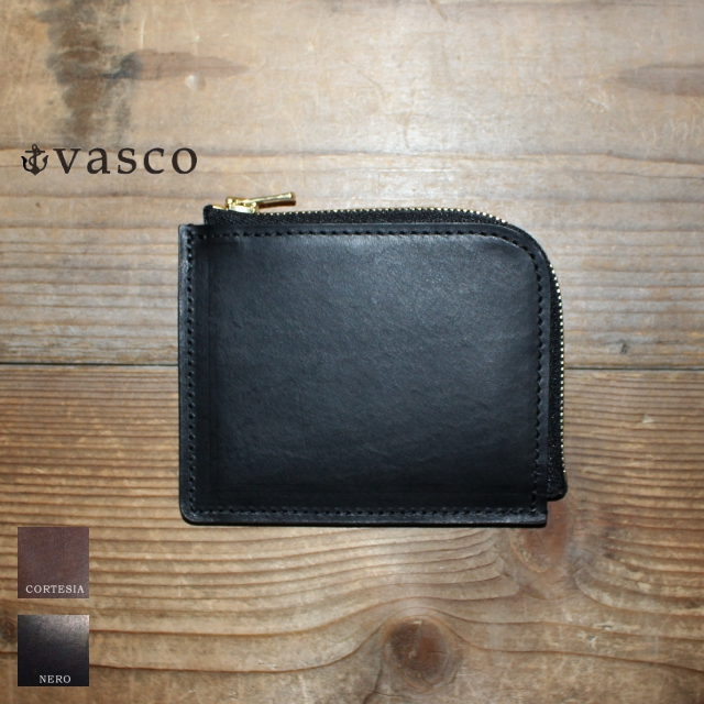 vasco レザーL字ミニウォレット LEATHER VOYAGE L-ZIPPER MINI WALLET VSC-707Z (NERO)