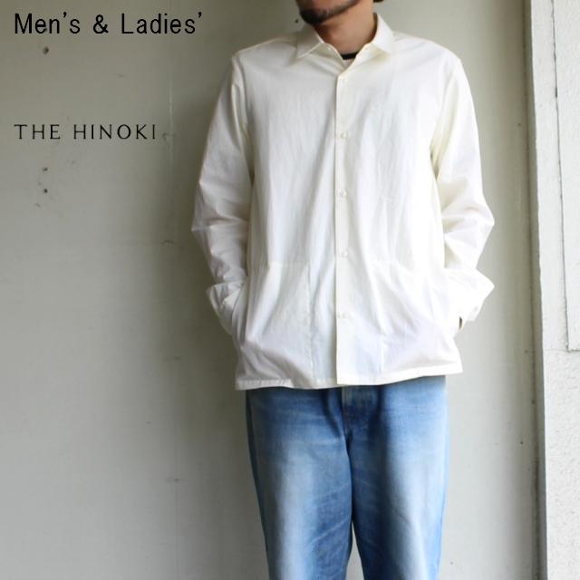 THE HINOKI パラシュートクロス丸襟シャツ長袖  (WHITE)