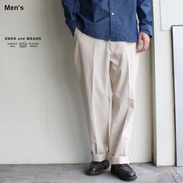 ENDS and MEANS  綿麻ワークトラウザー Work Chino  EM-ST-P01-SS (ナチュラル)