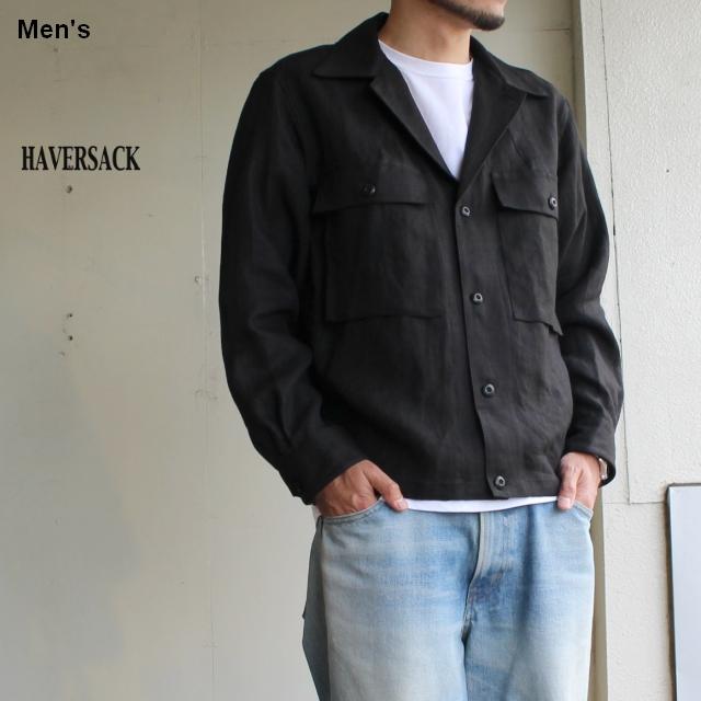 HAVERSACK リネンサージシャツブルゾン 871930 (ブラック)