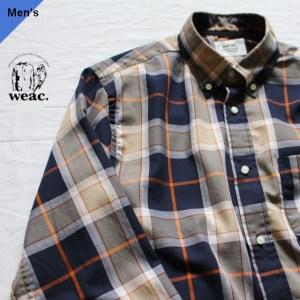 weac. 100/2 B.Dチェックシャツ BASIC SIRTS オレンジ×ネイビーチェック