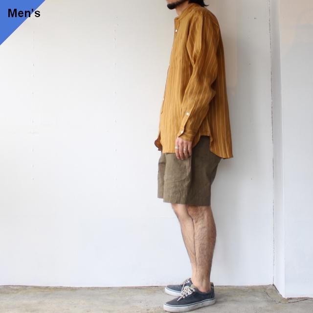 weac. ウィーク BIGMAN リネンルーズシルエットシャツ (Yellow brown)