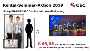 Sharp Hannover, Displays Hannover, Sharp PN-R903, RSA2019, Rental-Sommer-Aktion, Medientechnik Hannover, Dry Hire Hannover, Konferenztechnik Hannover