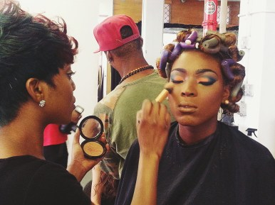 Rita doing Model Cassandra's makeup