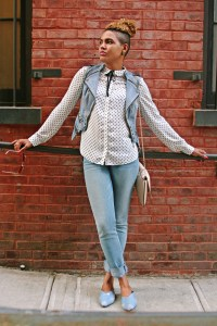 Polka Dot Blouse and Denim
