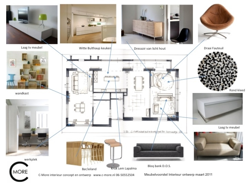 Schetsen plattegronden en collage c more interieur advies for Interieur advies