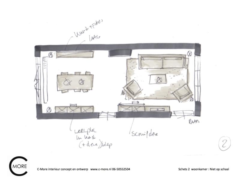 presentatie schetsen 1 en 2 woonkamer Vincent en Nicole 2