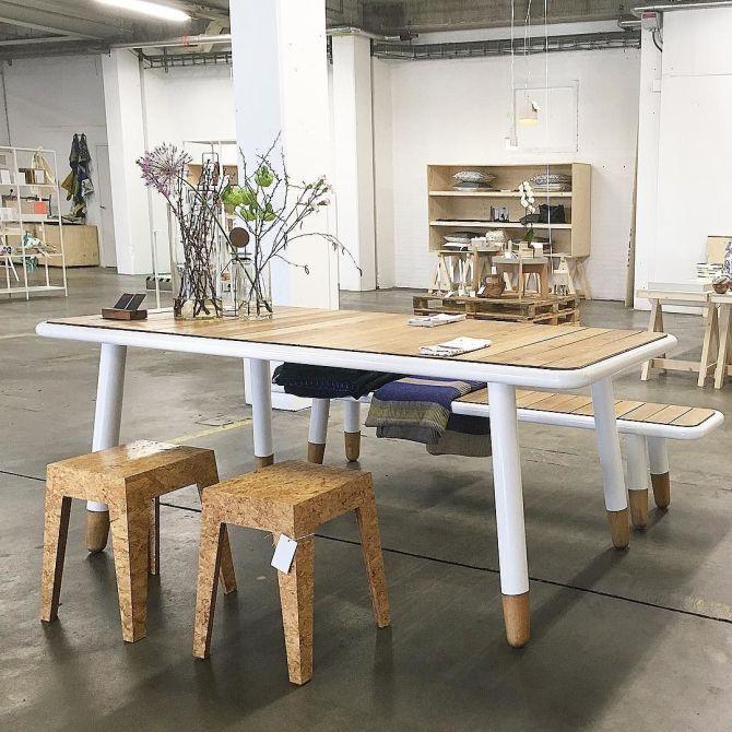 Made in Nijmegen bij C-More Concept Store | Dutch Craftsmen tafel en krukjes