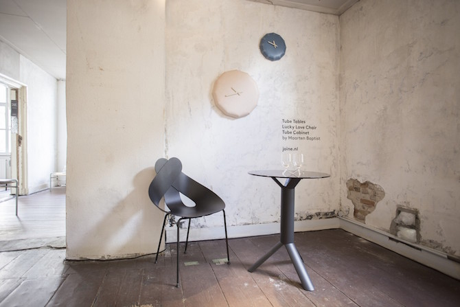 NOON leather wall clock + Tube small table + Lucky Love chair | tafel - stoel - klok | Maarten Baptist | Room|LOFT#2 | C-More Concept Store