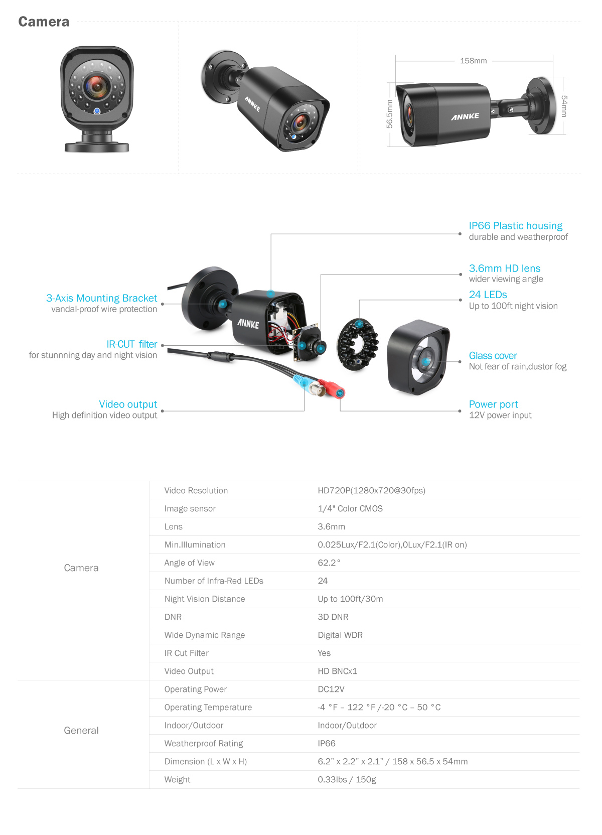 Annke 4x Tvl 720p Cctv Camera In Outdoor Ir Security Surveillance System