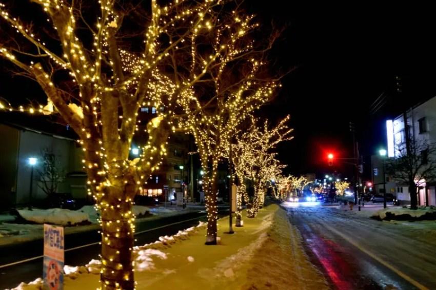 函館クリスマスファンタジーのイルミネーションされた道路