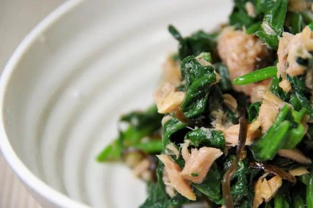 「ウワサのお客さま」小松菜とツナの和え物の時短レシピ!つき(長田知恵)が伝授!