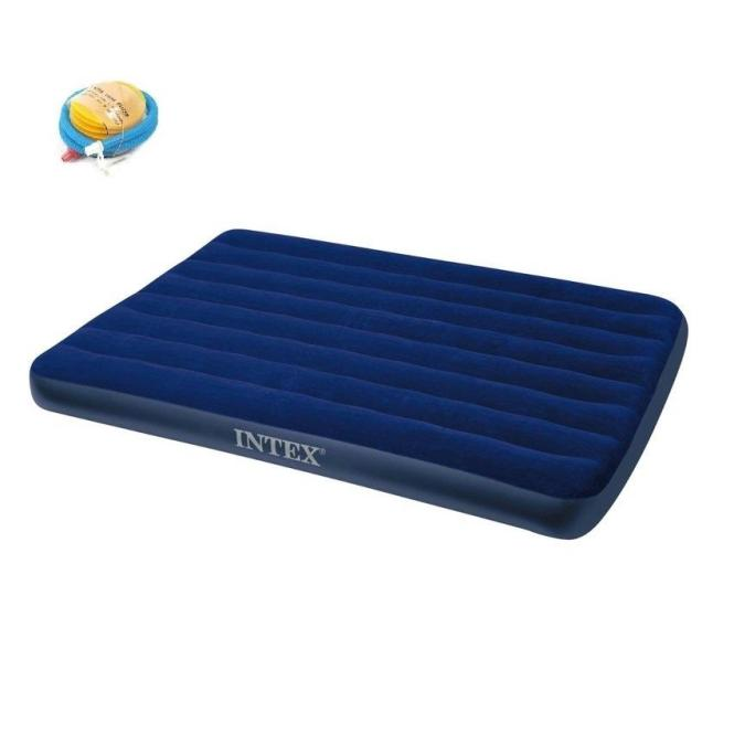 Intex Inflatable Flocked Air Bed Mattress Single Twin Queen Free Pump