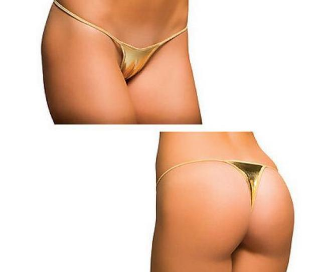 Scanty Gold Metallic Sexy Thong Sexy Underwear Tp