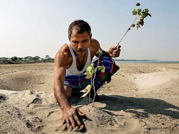 یادیو پاینگ کی پرانی تصویر جس میں وہ ایک پودا کاشت کررہے ہیں۔ فوٹو: یادیو فیس بک پیج