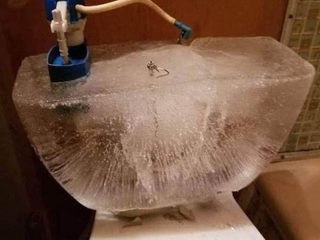 ڈکوٹا کے ایک گھر کے غسل خانے میں پانی بھرا فلیش جم کر پھٹ پڑا تو یہ شکل برآمد ہوئی (فوٹو: بورڈ پانڈا)