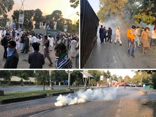 گستاخانہ خاکوں کیخلاف احتجاج؛ فرانسیسی سفارتخانے جانے پر مظاہرین اور پولیس میں جھڑپیں