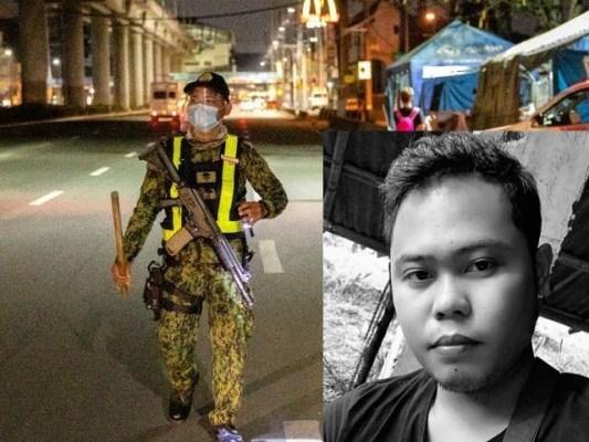 بڑی تصویر میں لاک ڈاؤن کے دوران ایک سپاہی چوکس کھڑا ہے جبکہ چھوٹی تصویر ڈیرن کی ہے جو سخت سزا کے بعد جانبر نہ ہوسکا (فوٹو: ڈیلی سن)