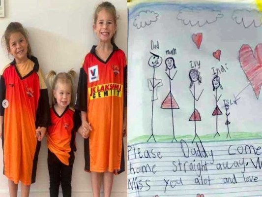 ڈیوڈ وارنر کی ننھی بیٹیوں نے جذباتی پیغام ارسال کر دیا۔ فوٹو: ٹوئٹر