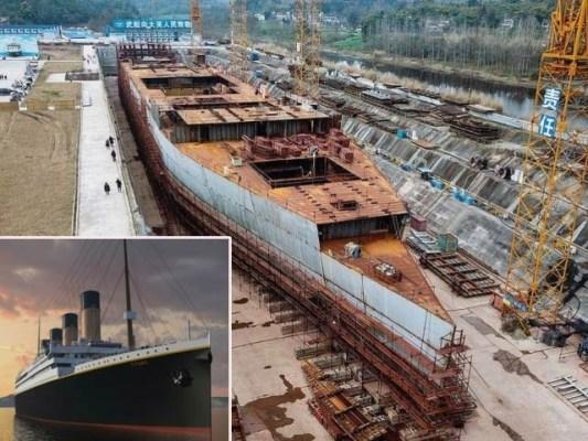 چین نے اصل ٹائٹینک کی جسامت والے بحری جہاز پر کام شروع کردیا ہے جو ایک تھیم پارک کا حصہ ہوگا۔ فوٹو: سی این این