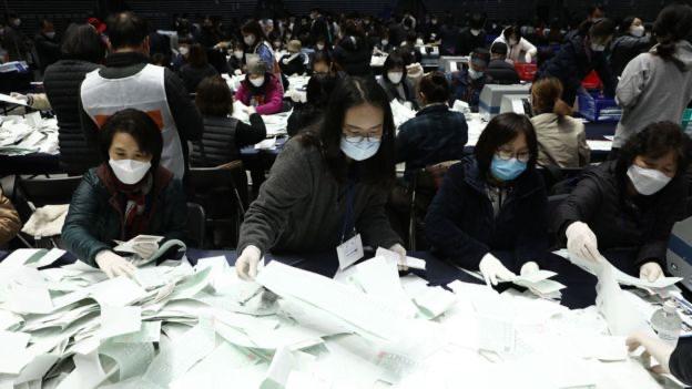 La pandemia no frenó la celebración de elecciones parlamentarias en Corea del Sur.