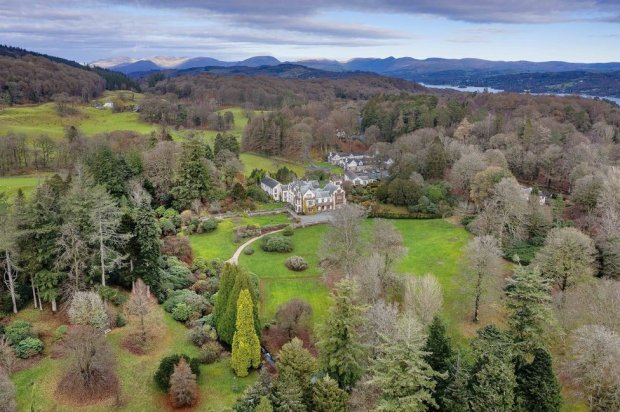 Aerial view of gardens around house