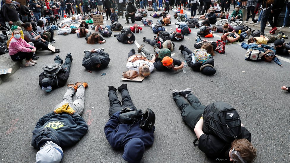trump Protesters lie on the streets in Portland, Oregon
