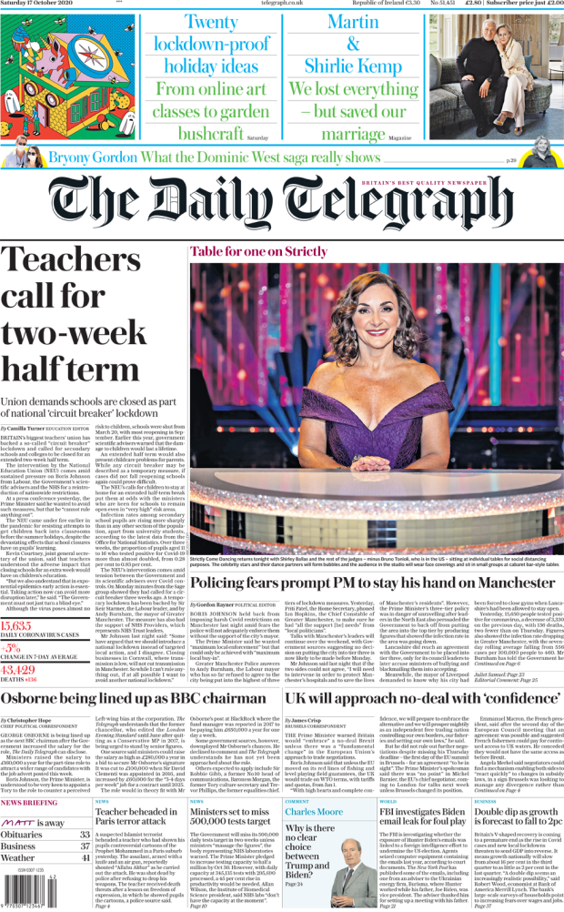 The Telegraph front page 17 October 2020