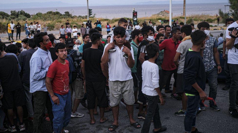 Displaced asylum-seekers protest