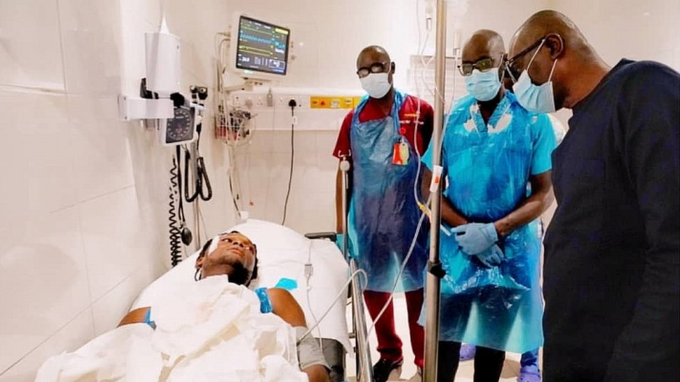 Lagos State Governor Babajide Sanwo-Olu visits injured people at a hospital in Lagos on October 21, 2020
