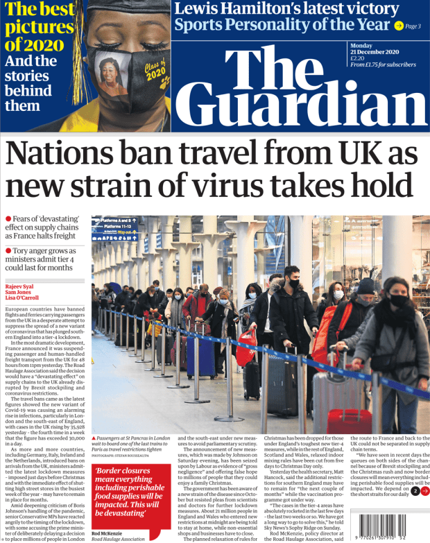 The Guardian front page 21 December 2020