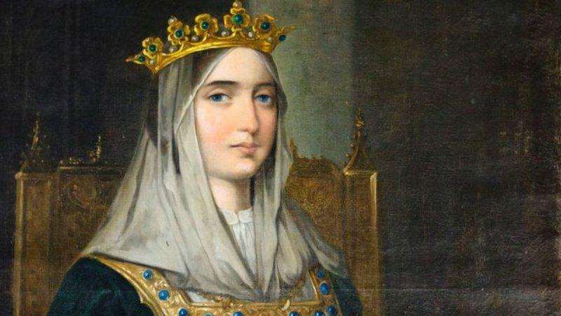 Pintura de la reina Isabel de Castilla en el monasterio La Rábida, Huelva, España.