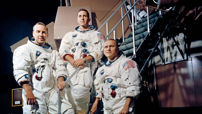 James (Jim) Lovell, Frank Borman and William (Bill) Anders, members of the Apollo 8 mission