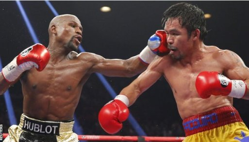 Floyd Mayweather (left) and Manny Pacquiao