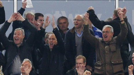 Chelsea manager Jose Mourinho (centre) watched on as his side suffer a defeat at West Ham