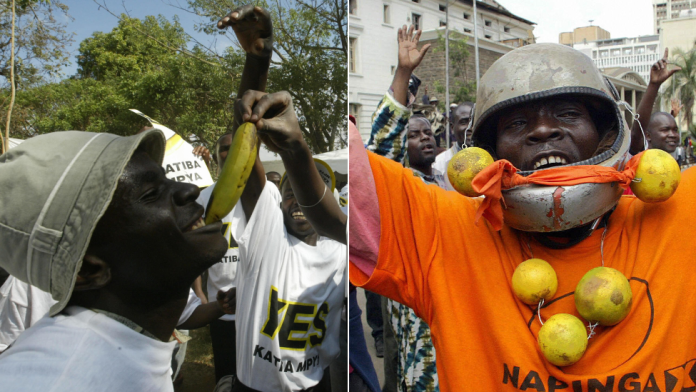 """L: A """"yes"""" voter with a banana R: A """"no"""" voter with oranges during campaigning ahead of Kenya's 2005 referendum on a new constitution"""