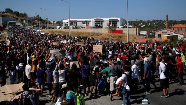 Refugees and migrants from the destroyed Moria camp protested after news of the construction of a new temporary camp on Lesbos Island, Greece, on 11 September 2020