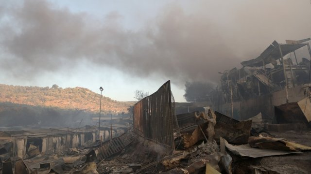 The Moria refugee camp pictured after a fire