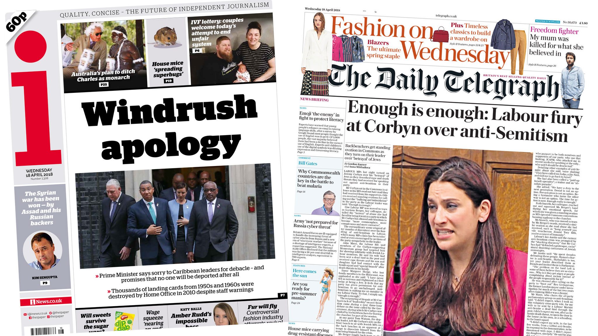 Newspaper headlines: Windrush \'betrayal\' and \'Labour fury\' over anti ...