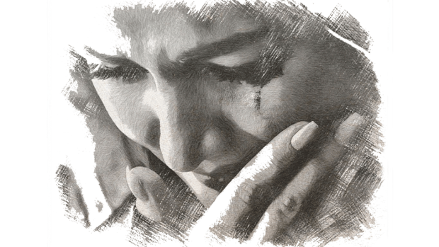 Drawing of victim crying
