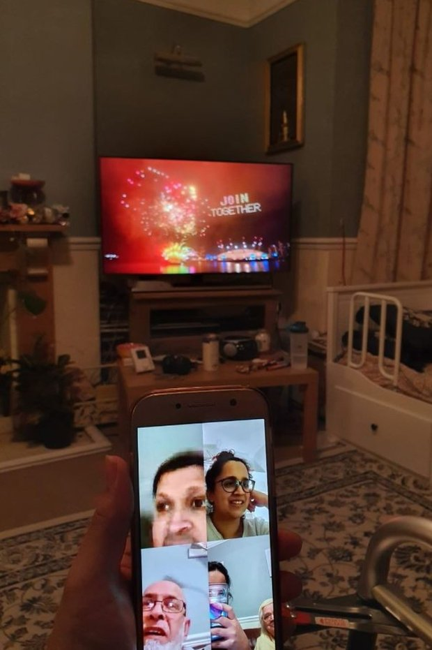 Yameen Rasul on a video call with her family