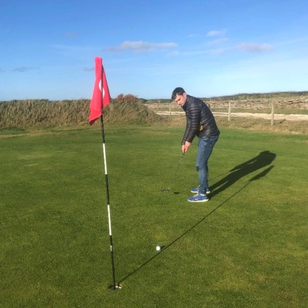 David Delday playing the longest hole