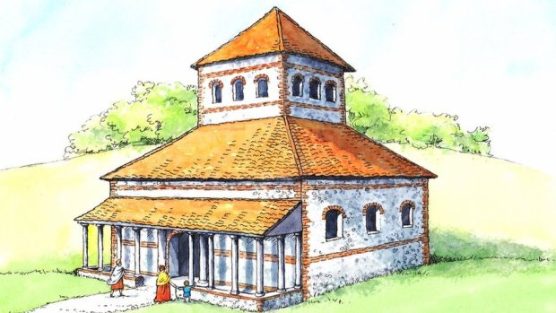 Artist's impression of Roman temple at Caistor