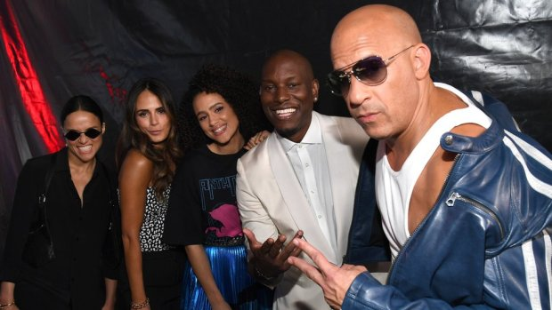 Vin Diesel with other F9 stars in January 2020