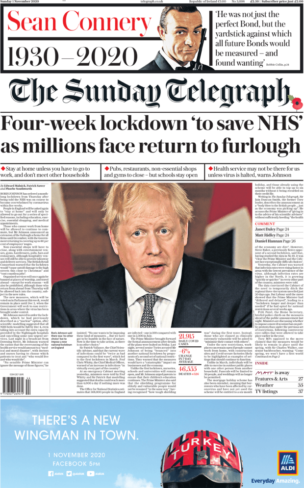The Sunday Telegraph front page 1 November 2020