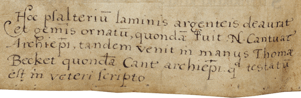 Elizabethan inscription in the Becket psalter