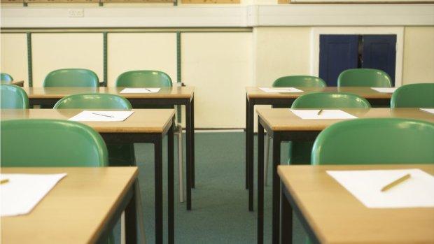 Empty school desks