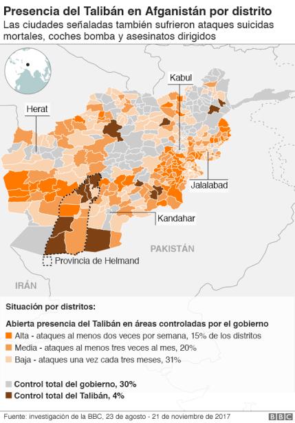Mapa presencia del Talibán en Afganistán.