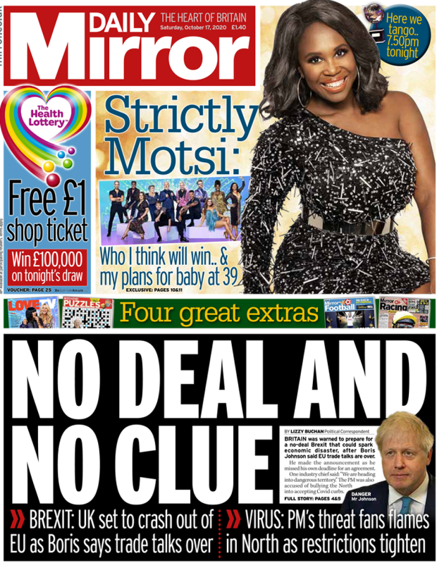 The Daily Mirror front page 17 October 2020