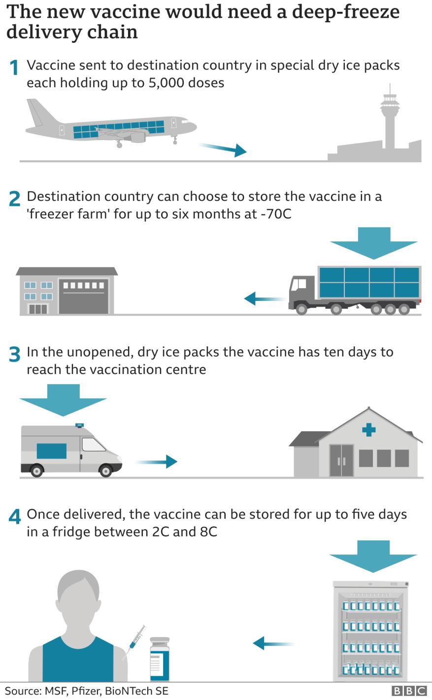 Grafik, die zeigt, wie die Kühlkette funktionieren würde, um den Impfstoff an lokale Impfzentren zu liefern.